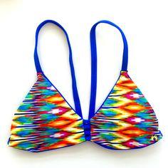Reversible V-Back Bikini Top - Blue/Multicolor Ikat (El Matador)