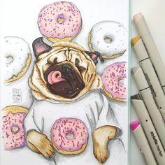 Иллюстрация для кондитерской  Как же приятно было рисовать такого довольного мопсика✨ Радуюсь таким заказам  формат А4 с односторонней бумагой для маркеров идеально подходит для выполнения коммерческих работ! illustration for a confectioner I was incredibly pleased to draw such a sweet pug  #мопс #pugs #animals #пончики #donuts #sweets #кондитерская #собака #dogs #dogslover #food #foodsketch