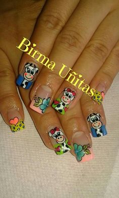 Uñas Decoradas  Birma Uñitas Animal Nail Designs, Toenail Art Designs, Cute Nail Designs, Cruise Nails, Nail Designs Spring, Top Nail, Cow Print, Toe Nail Art, Spring Nails