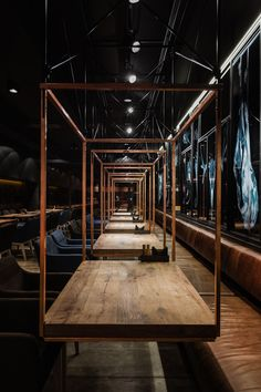 "Meat Restaurant ""Sazha"" / YOD design lab Completed in 2017 in Sumy, Ukraine. Images by Andriy Avdeenko. Sazha – it's a meat restaurant in Sumy, focused on developing the culture of consumption of steaks in the city. The restaurant's building, like the… Design Lab, Cafe Design, Design Ideas, Design Shop, Layout Design, Meat Restaurant, Restaurant Tables, Restaurant Ideas, Culture Restaurant"