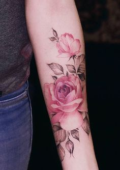 Watercolor Pink Rose Tattoo Pink Rose, my grandma loved pink roses🌹 Forearm Tattoos, Body Art Tattoos, Hand Tattoos, Small Tattoos, Sleeve Tattoos, Tattoo Arm, Mandala Tattoo, Spine Tattoos, Tattoo Pics
