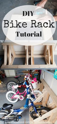 Reclaim a corner of your garage with this DIY bike rack to keep all the wheeled toys in line and organized! Tutorial and building plan from The Heathered Nest on Remodelaholic.com