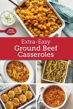 At dinnertime, ground beef never lets us down. So grab one of these recipes and go to town! Source by bettycrocker Great Chicken Recipes, Beef Recipes, Cooking Recipes, Hamburger Recipes, Healthy Recipes, Cooking Ideas, Group Beef Recipe, Casserole Dishes, Casserole Recipes