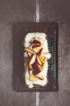... nectarine and lemon-flavored cake with white chocolate glazed ...