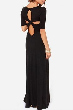 Black Back Hollow-out O-neck Short Sleeves Maxi Party Dress