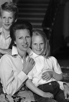 Princess Anne with her children Peter and Zara Phillips.
