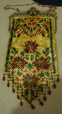 Mandalian mesh Lustro Pearl purse, enamel frame, enamel drops - collection of Kathy Gunderson