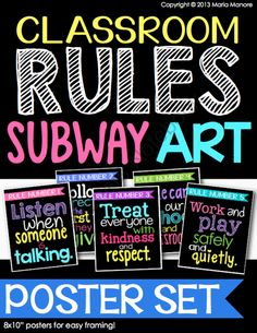 Classroom Rules Subway Art Poster Set from Kinder Craze on TeachersNotebook.com (5 pages)  - Remind students of your classroom rules while creating an attractive and inviting learning environment. This Classroom Rules Subway Art Poster Set is on-trend with the latest in classroom decor AND it delivers practical rules for a smoothly-managed classr