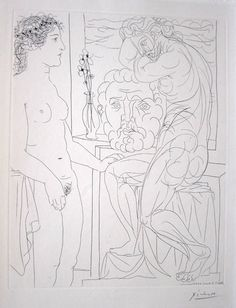 Picasso, Nude Model and Sculptures, Suite Vollard,  etching