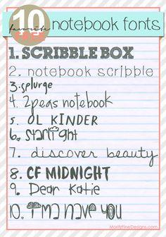 FREE font Friday | Notebook Fonts | www.MoritzFineBlogDesigns.com