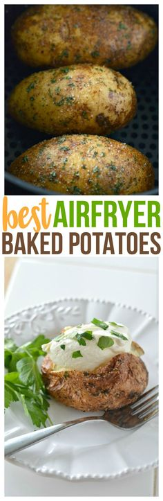 Air Fryer Baked Potato covered with a parsley garlic salt rub. Making Air Fryer Baked Potatoes will be your new favorite way to use your air fryer. #airfryer #airfryerrecipes #bakedpotato #potatoes #potato #sidedish