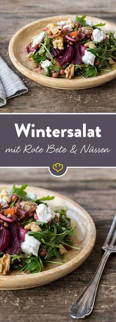 Winter salad with walnuts, lentils and beetroot-Wintersalat mit Walnüssen, Linsen und Roter Bete Colorful through the winter! This salad is full of vitamins, provides you with rich nutrients and brings variety to the salad plate. Salad Recipes, Vegan Recipes, Easy Recipes, Beetroot Recipes, Lentil Recipes, Snacks Recipes, Recipes Dinner, Grilling Recipes, Healthy Snacks