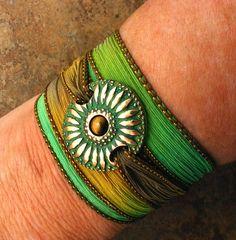 Silk Wrap Bracelet  Hand Dyed Silk Ribbon and by WildRavenStudio, $38.00