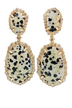 Leopard jasper and champagne diamond earrings by Phillips Frankel