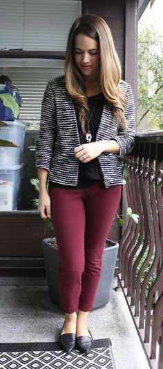Jules in Flats - Striped H&M Jacket, Burgundy Old Navy Pixie Pants