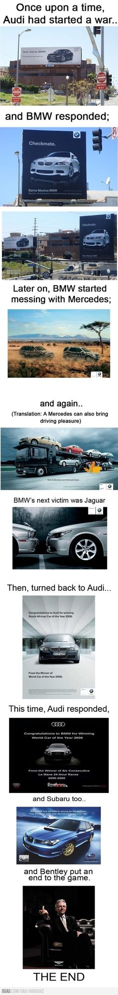 Funny pictures about Audi Ad War. Oh, and cool pics about Audi Ad War. Also, Audi Ad War photos. Car Jokes, Funny Car Memes, Car Humor, Advertising History, Car Advertising, Advertising Campaign, The Meta Picture, Subaru Legacy, Best Funny Pictures