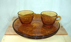 Vintage Indiana Sunburst Amber Glass Snack by TeaLightedTeacups