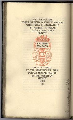 Against War by Erasmus, colophon, D.B. Updike, Merrymount Press, 1907