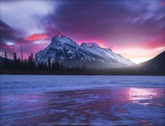 Mount Rundle - I think Mount Rundle is the most recognizable mountain in Banff NP. It's impossible to miss it and especially impressive when approaching Banff from the west. This shot was taken from a partially snow removed Vermilion Lake at dawn....
