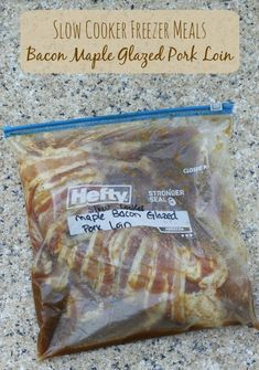 Crockpot meals 70650287888111161 - Maple Bacon Pork Loin – Freezer to Slow Cooker Meals. Delicious dinner for your crockpot! Source by catherineaira Freezer Friendly Meals, Slow Cooker Freezer Meals, Make Ahead Freezer Meals, Crock Pot Freezer, Freezer Cooking, Crock Pot Cooking, Slow Cooker Recipes, Crockpot Recipes, Cooking Recipes