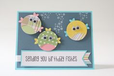 Girl's Birthday Card, Handmade Card, Kid's Birthday, Birthday Card for Girl, Stamped Card, Fish, Fishes, Yellow, Pink, Teal, Greeting Card by BeyondTheReam on Etsy