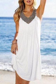 SAGUARO Summer Beach Dress 2018 Sexy Sleeveless V Neck Boho Dresses for Women Fashion Diamonds Casual Dress Vestidos Femininos Shift Dresses, Club Dresses, Casual Dresses, Summer Dresses, Party Dresses, Dresses 2016, Fashion Dresses, Outfit Summer, Vacation Dresses