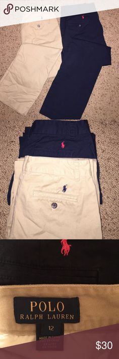 Ralph Lauren Chinos Ralph Lauren flat front (no pleats) twill chinos. 2 pairs, Khaki and Navy. Can't go wrong with this classic addition to your boy's wardrobe! Hardly worn, like NEW! Ralph Lauren Bottoms Casual