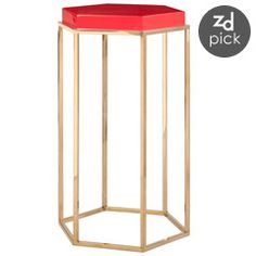 Worlds Away Elsa Red with Brass Side Table WAELSARD