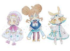 Good Night Girls & Midnight Girls by ekuboon Kawaii Chibi, Cute Chibi, Kawaii Art, Anime Chibi, Kawaii Anime, Cute Characters, Anime Characters, Character Concept, Character Art