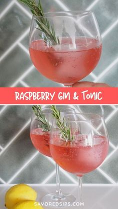 This Raspberry and Lemon Gin & Tonic is a super refreshing springtime cocktail that puts a fresh twist on an old favorite. Craft Cocktails, Easy Cocktails, Summer Cocktails, Fun Drinks, Liquor Drinks, Party Drinks, Gin Cocktail Recipes, Martini Recipes, Punch Recipes