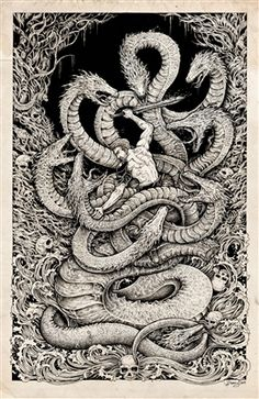 'Second Labour: Lernaean Hydra' Print by Kerby Rosanes
