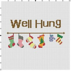 Well Hung  Are you well hung? Is someone you know? We are talking about stockings and mittens of course, nothing else. Modern cross stitch