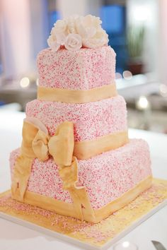 Pink Sprinkle Cake! On SMP: http://www.StyleMePretty.com/southeast-weddings/2013/11/21/tampa-bay-wedding-from-debra-eby-photography/ Debra Eby Photography