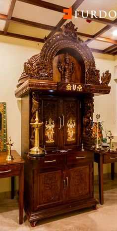 Genial Hand Carved Wooden Puja Unit With Elaborate Detailing Depicting Hindu Gods  And Fine Motifs By