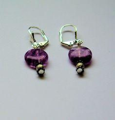 Amethyst and silver beaded earrings by HandmadebyEleri on Etsy, £8.00