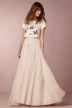 BHLDN Two Pieces Boho Wedding Dress - Deer Pearl Flowers