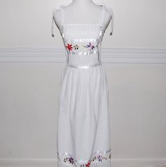 Vintage 1970s Mexican Embroidered Maxi Sundress by LadyLuxVintage, $58.00