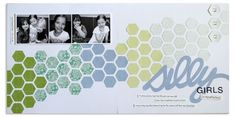 Hexagon place and punch ideas from the old Creative Memories project center. This is a 12x12 scrapbook layout.
