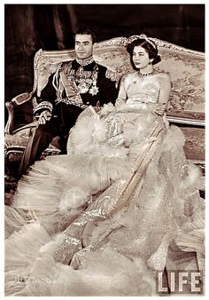 H.M. Mohamed Reza Pahlavi Shah of Iran In Full Military Attire & Empress Soraya - The Wedding Day On February 12, 1951