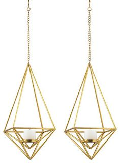 Gold Geometric Pillar Candlelight Pendants, Set of 2 - contemporary - Candleholders - Pizzazz! Home Decor, LLC