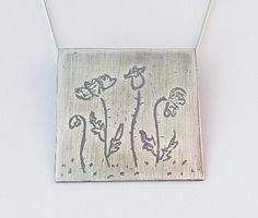 Paintings petite  Etched silver pendant with by HenrietteWhite, €48.00 #metalworks