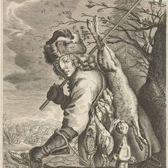 November: een jager met zijn buit, anonymous, after Reinier van Persijn, Joachim von Sandrart, 1670 - 1726 - Rijksmuseum