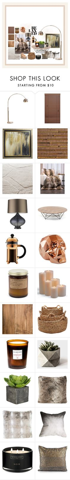 """""""Copper Warmth"""" by lucyfbarnes ❤ liked on Polyvore featuring interior, interiors, interior design, home, home decor, interior decorating, Ink & Ivy, Universal Lighting and Decor, Zoffany and Bodum"""