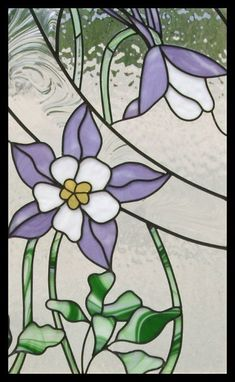 columbine flower stained glass - another front door inset idea?