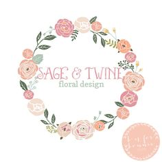 floral wreath premade logo and watermark | b is for bonnie design