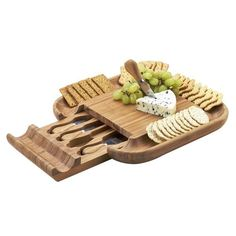 Bamboo Cheese Board Set Cracker Serving Rim Tray Drawer for Cutting Tools  GIFT #PicnicatAscot