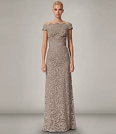 When the time comes. Mother of the groom dress. I will wear beige, show up and keep my mouth shut! Tadashi OfftheShoulder Gown #Dillards