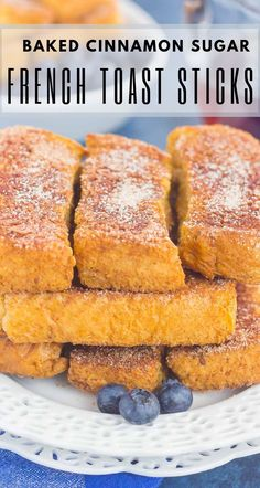 Baked Cinnamon Sugar French Toast Sticks make an easy breakfast that's loaded with flavor. Simple to prepare and baked in the oven, you can have these sticks ready to serve in no time, with a side of syrup for dunking! #frenchtoast #frenchtoaststicks #bakedfrenchtoast #cinnamonsugarfrenchtoast #cinnamonsugar #breakfast #recipe Oven Baked French Toast, French Toast Bites, Baked French Toast Casserole, French Toast Rolls, Best French Toast, Overnight French Toast, Cinnamon French Toast, French Toast Sticks Recipe Baked, Breakfast Casserole
