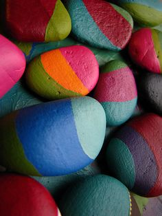 Painted pebbles in progress by Zamzam Design, via Flickr