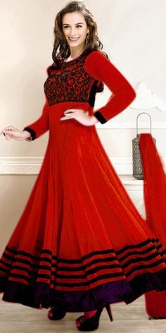 Gorgeous Red Georgette Long Anarkali Suit With Chiffon Dupatta.